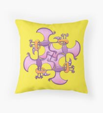 Pterodactyls in a circle bitting each other's legs Throw Pillow