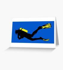 Sport Stilisiert - Taucher mit Taucherflasche und Flossen Grußkarte