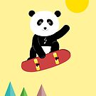 Panda on a skateboard by grafart