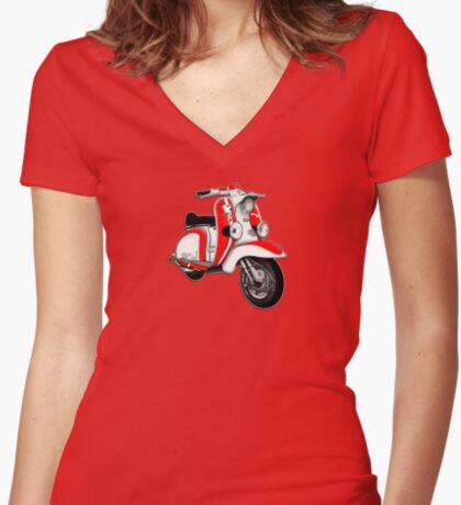 Scooter T-shirts Art: TV 175 Series 1 Mod style racer. Women's Fitted V-Neck T-Shirt