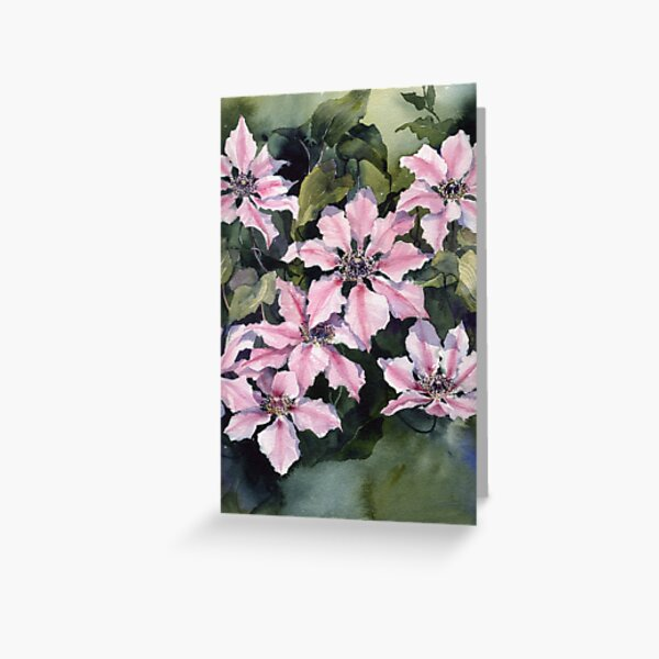 Nellie Moser Clematis Greeting Card