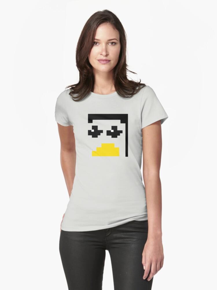 LINUX TUX PENGUIN PIXEL FACE  Womens T-Shirt Front