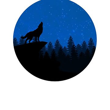 Howling Wolf in the Night Sky T-Shirt Full Moon Wolves  by JollyKRogers