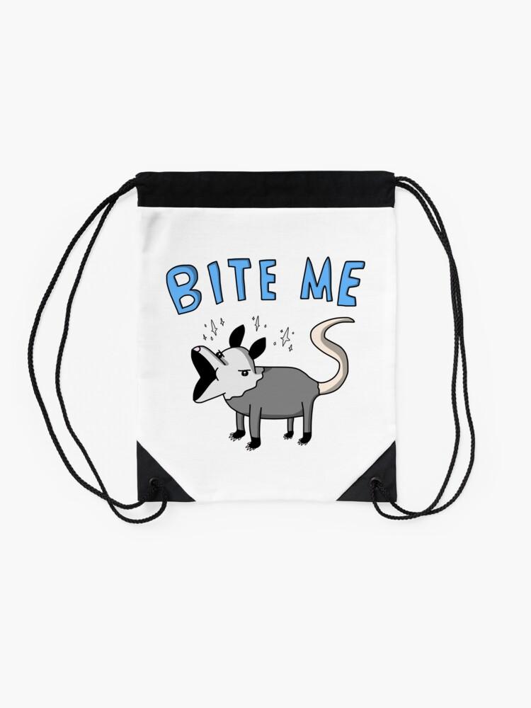 Alternate view of Bite Me Possum - Tiny Snek Comics Drawstring Bag