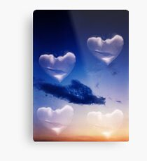 Surrealist romantic love hearts surreal sky multiple exposure Metal Print