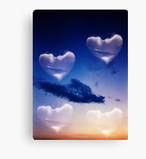 Surrealist romantic love hearts surreal sky multiple exposure Canvas Print