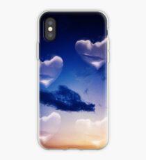 Surrealist romantic love hearts surreal sky multiple exposure iPhone Case