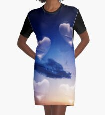 Surrealist romantic love hearts surreal sky multiple exposure Graphic T-Shirt Dress