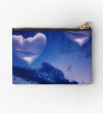 Surrealist romantic love hearts surreal sky multiple exposure Studio Pouch
