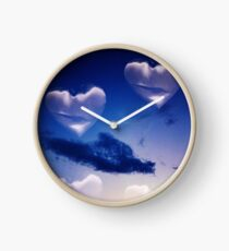 Surrealist romantic love hearts surreal sky multiple exposure Clock
