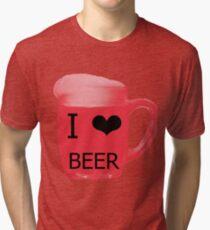I love Beer red Tri-blend T-Shirt