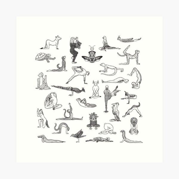31 Yoga Animals - by Shamanthi Art Print