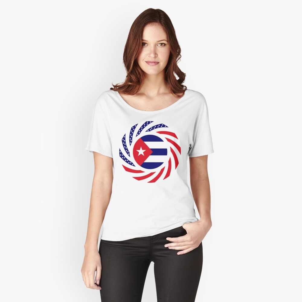 Cuban American Multinational Patriot Flag Series Relaxed Fit T-Shirt