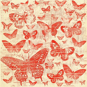 shabby red butter flies pattern,shabby chic, red,butterflies, pattern, victorian,belle epoque,vintage,rustic,french chic, wedding by love999