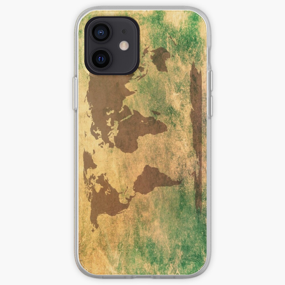 World map in brown on a scratched green/brownish background iPhone Case & Cover