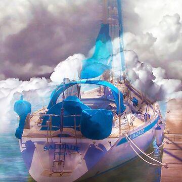 boat in a cloudy sea by terezadelpilar