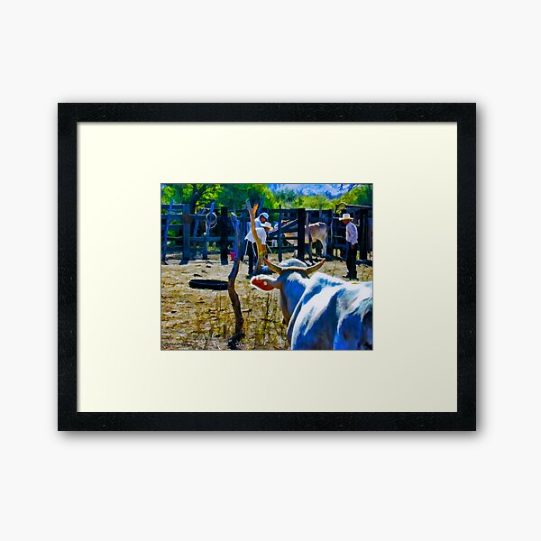 Cow Looking On Framed Art Print