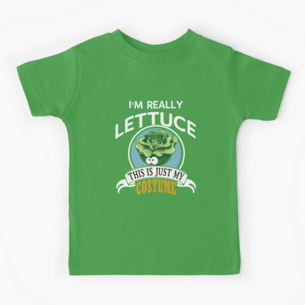 I'm a Head of Lettuce This is Just My Human Costume Funny Vegetable Halloween Costume Idea Kids T-Shirt