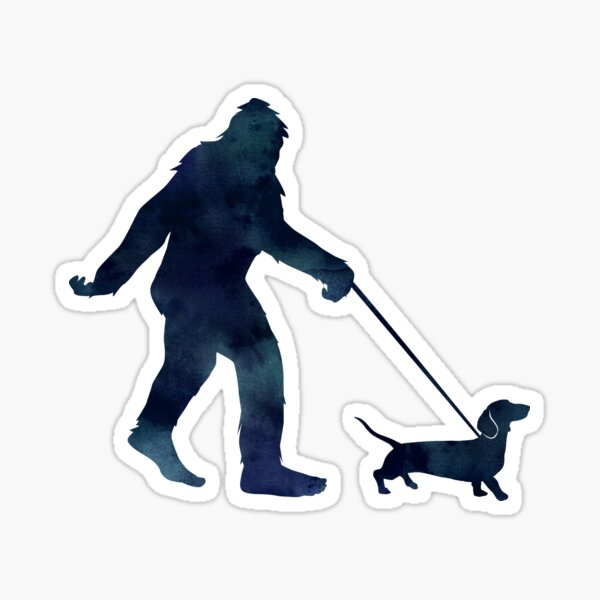 Bigfoot walking a Dachshund Sticker