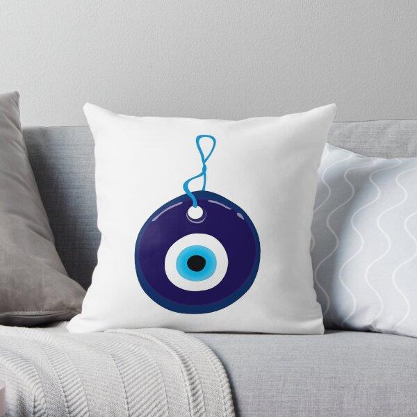 Blue Evil Eye Bead Throw Pillow