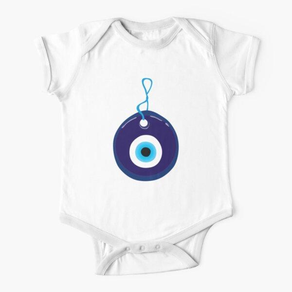 Blue Evil Eye Bead Short Sleeve Baby One-Piece