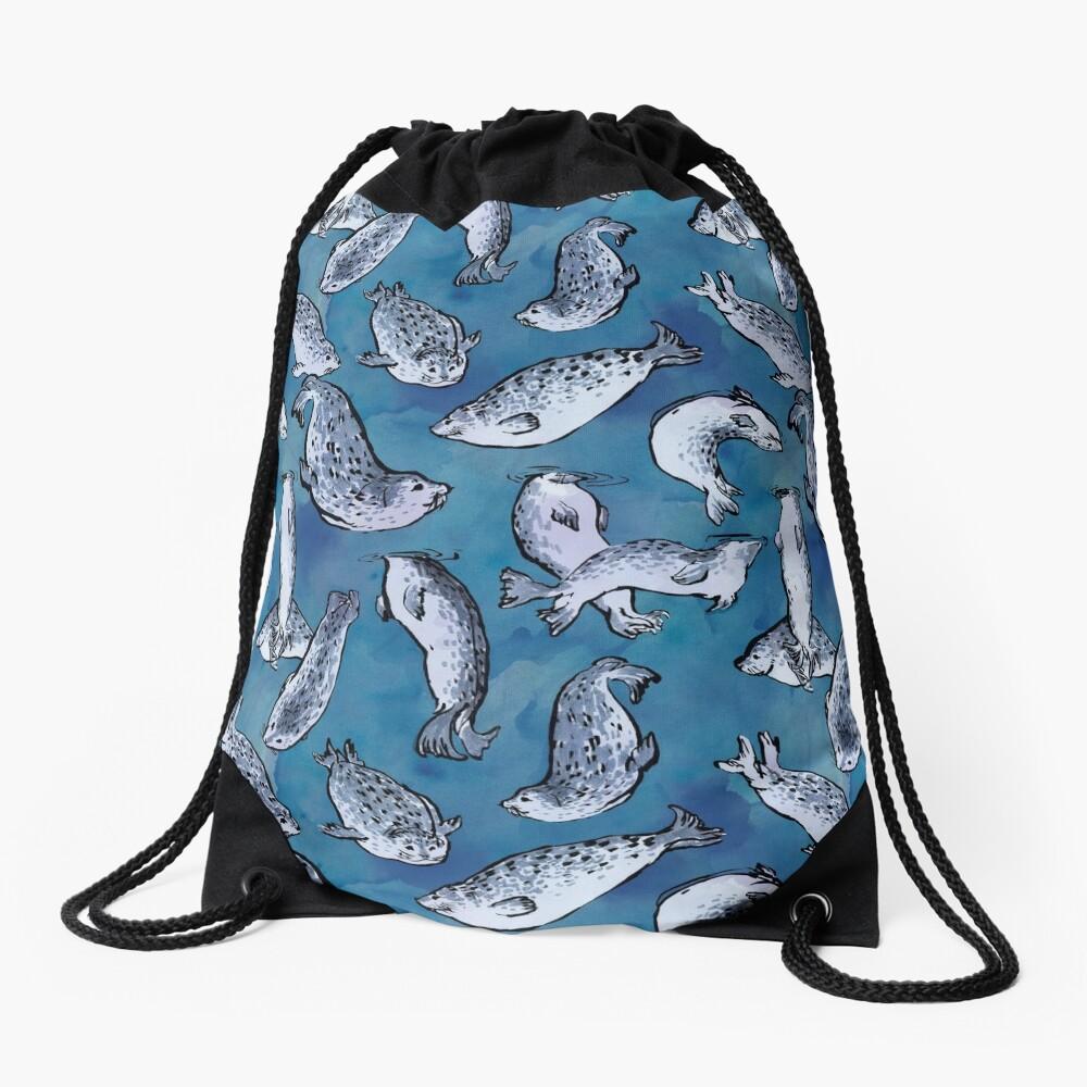 Harbor Seal Pattern Drawstring Bag