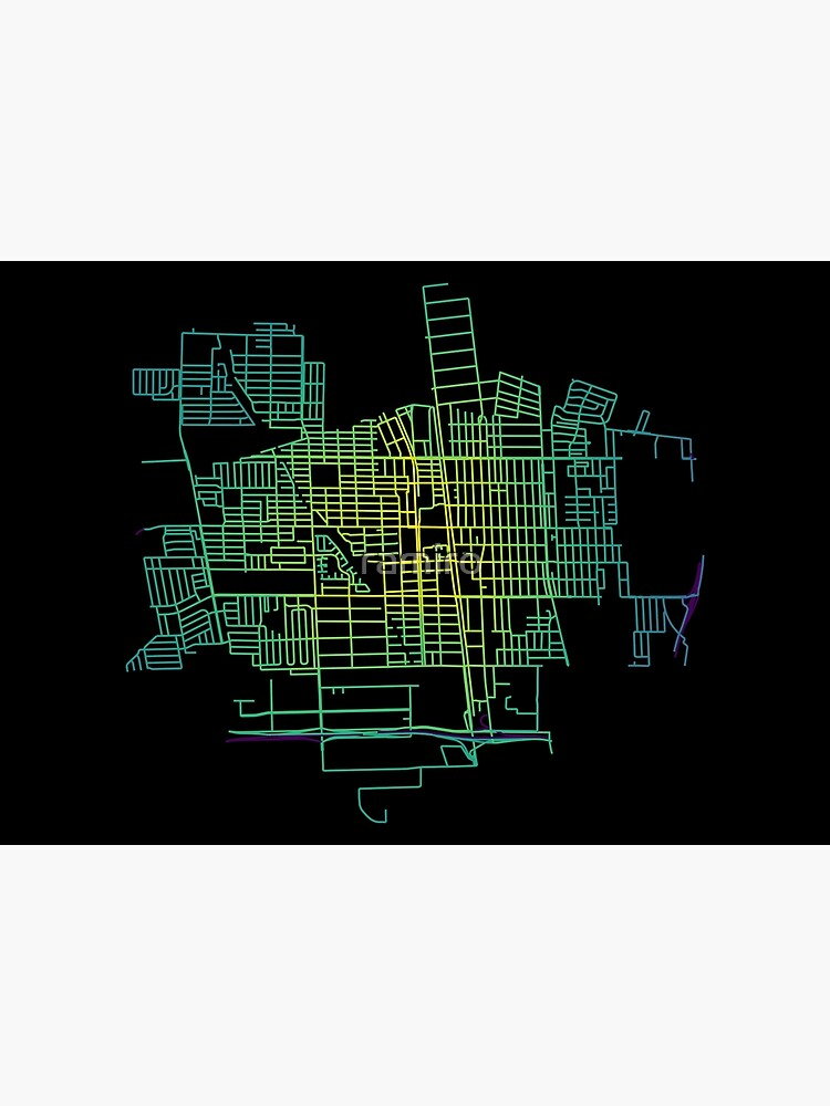 Compton, California, USA Colored Street Network Map Graphic by ramiro