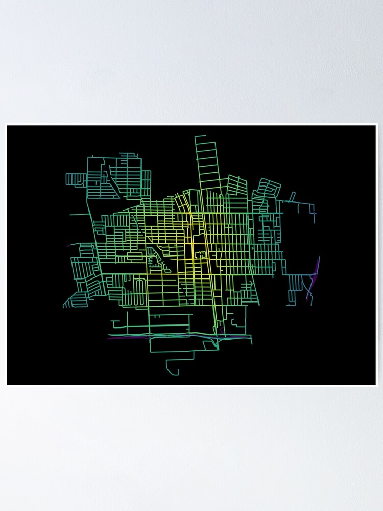 Alternate view of Compton, California, USA Colored Street Network Map Graphic Poster