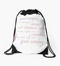 Jane Austen Persuasion Quote, Good Company Drawstring Bag