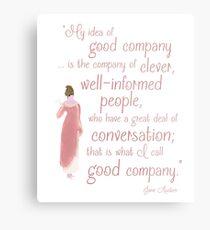Lienzo metálico Jane Austen Cita de persuasión, buena compañía