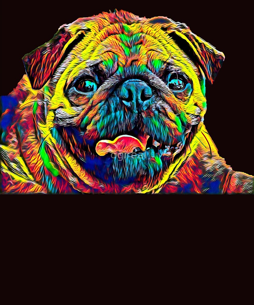 Pug Dog Breed Pet Breed True Friend Colored Graphic Design by ogireal