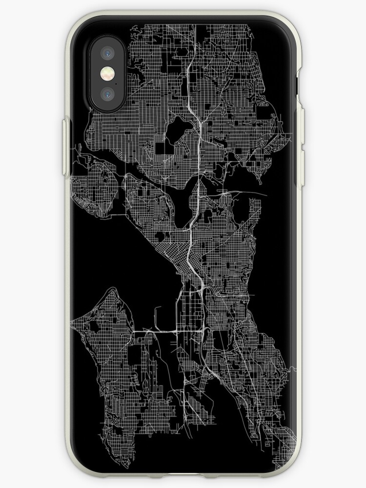 'Seattle, Washington, USA Street Network Map Graphic' iPhone Case by ramiro