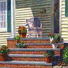Porch with Pots of Geraniums by Susan Savad