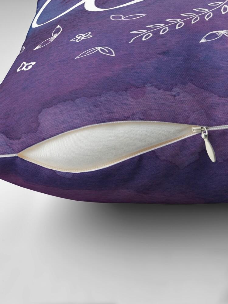 Alternate view of Purple Watercolor Art Print, Purple Home Decor, Typography Word Art, Spiritual Meditation Yoga Motivational Clarity Quote Art Print Throw Pillow