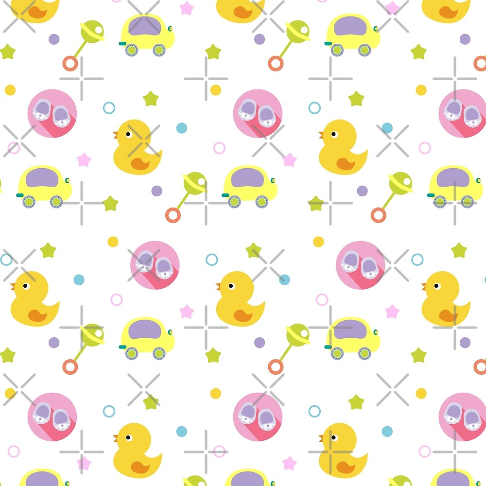 Cute baby pattern with toys by GennyBunny
