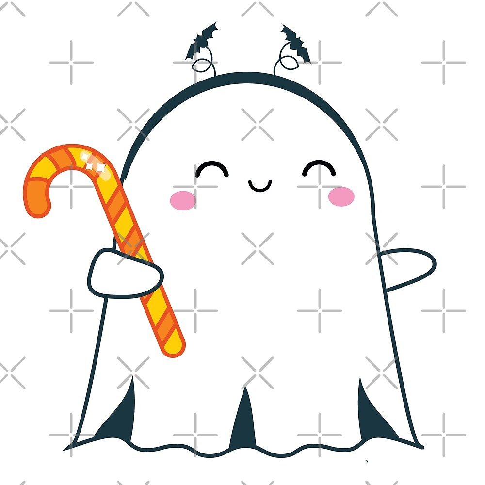 Cute halloween ghost holding candy cane by GennyBunny