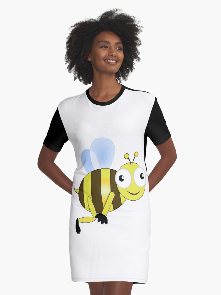 Happy Bee Graphic T-Shirt Dress Front