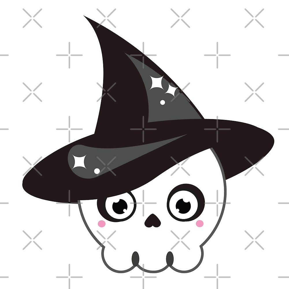 Cute halloween skull in witch hat by GennyBunny