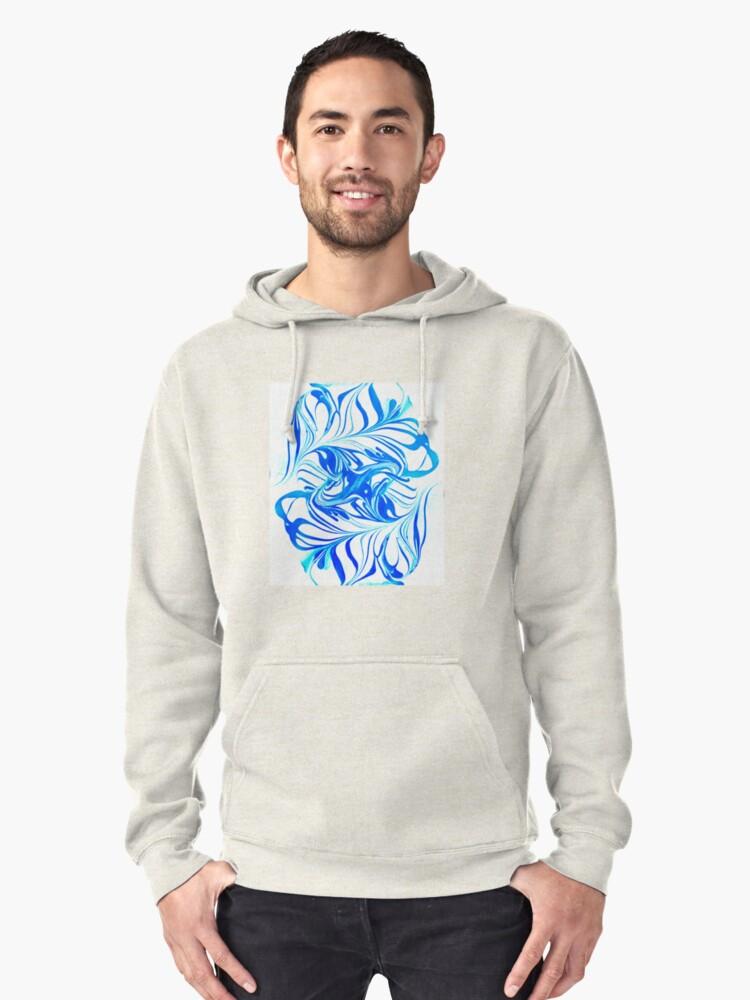 Original Marble Texture - Ocean Breeze Pullover Hoodie Front