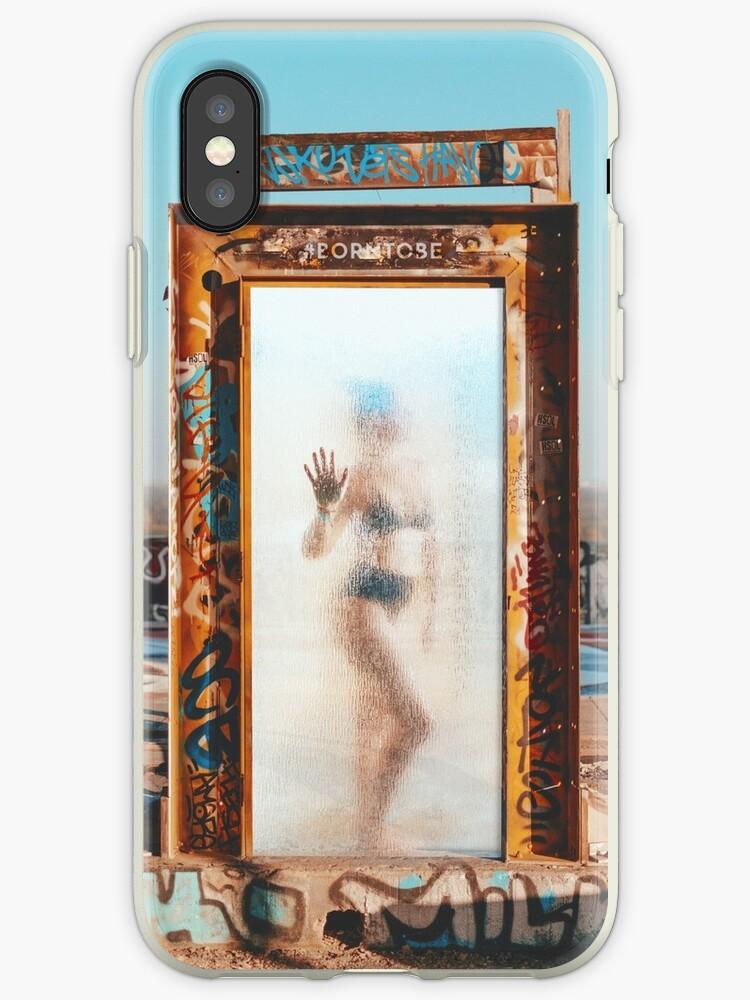 Girl standing semi transparent door  by VinyLab