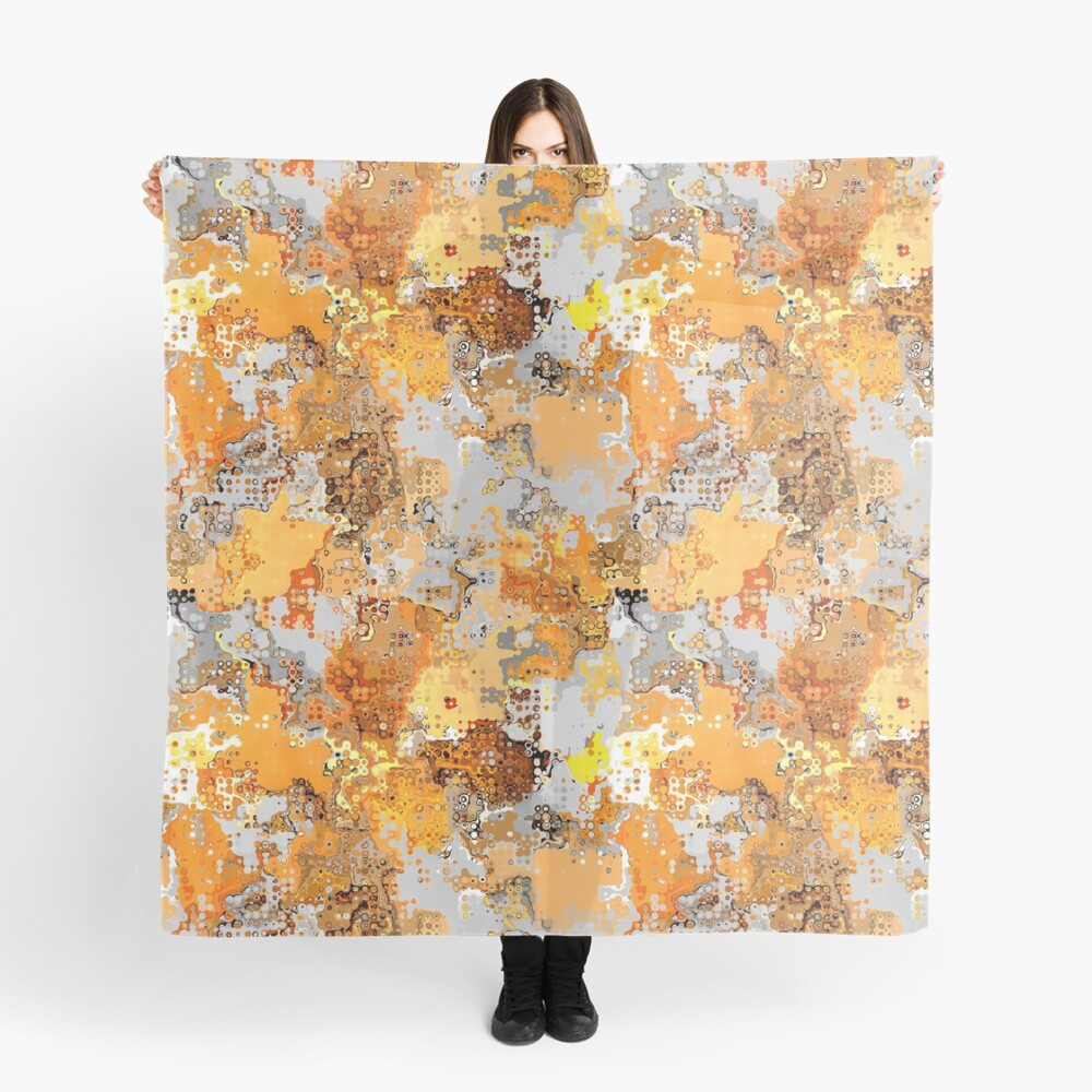 Golden Hues Abstract Scarf Front