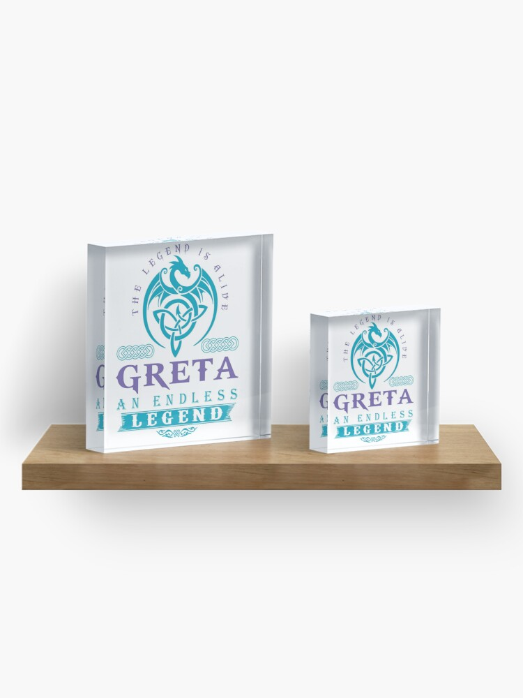 Alternate view of Legend T-shirt - Legend Shirt - Legend Tee - GRETA An Endless Legend Acrylic Block