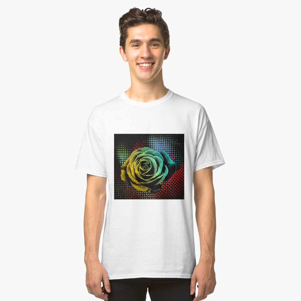 Rose, green, red, blue, black, light blue pop art Classic T-Shirt Front