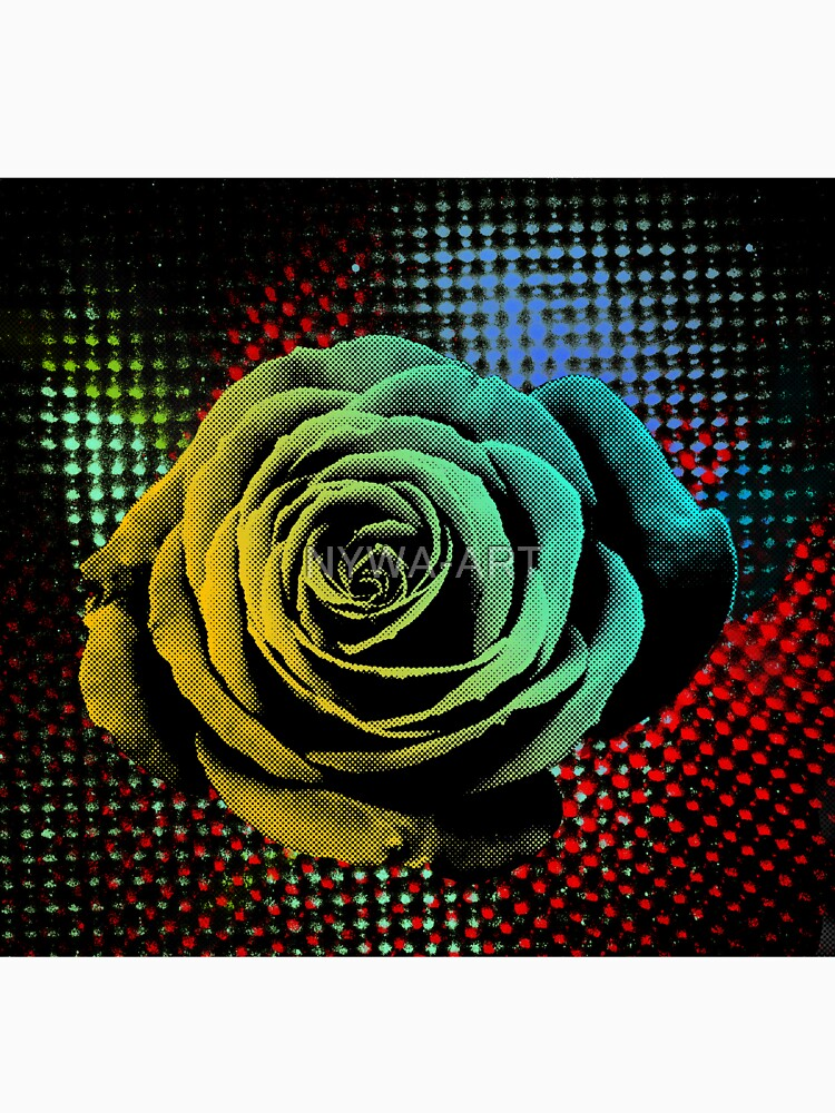 Rose, green, red, blue, black, light blue pop art by NYWA-ART