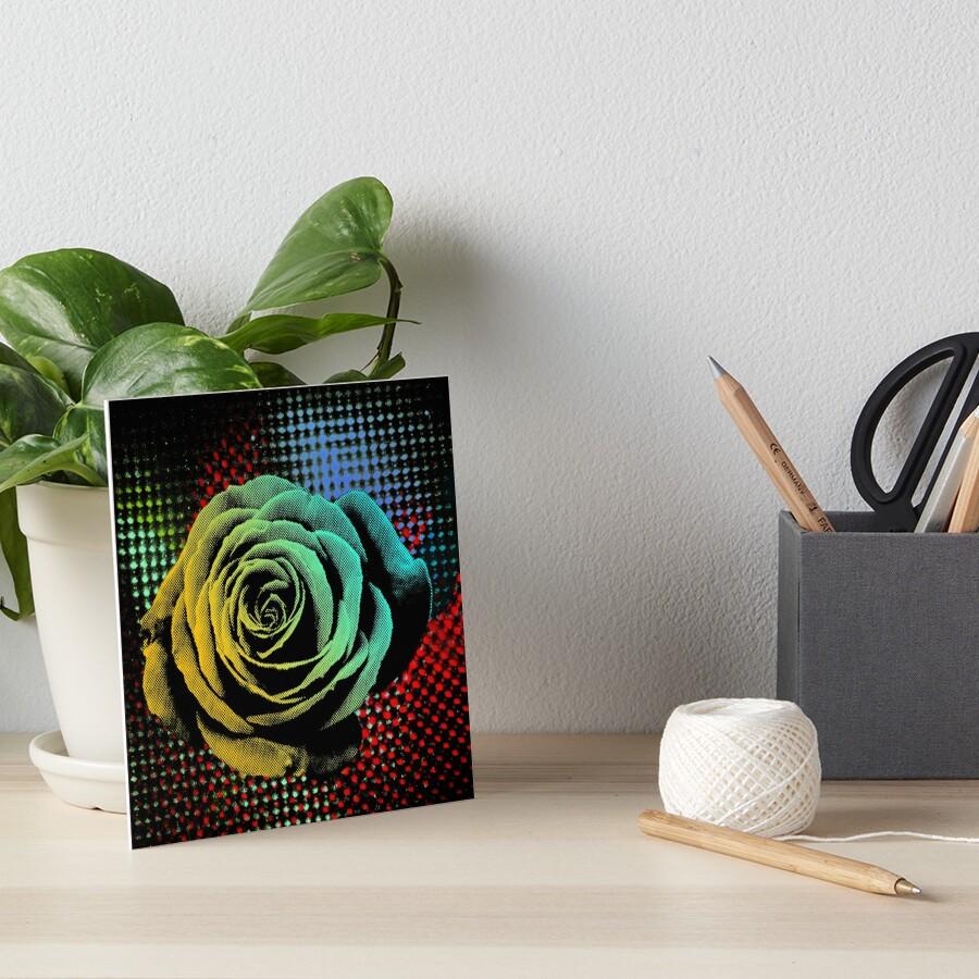 Rose, green, red, blue, black, light blue pop art by NYWA-ART