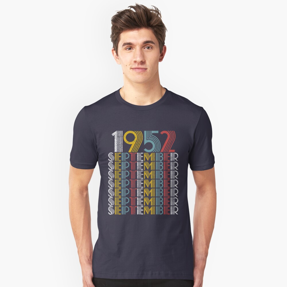 Vintage September 1952 Birthday Gifts Unisex T-Shirt Front