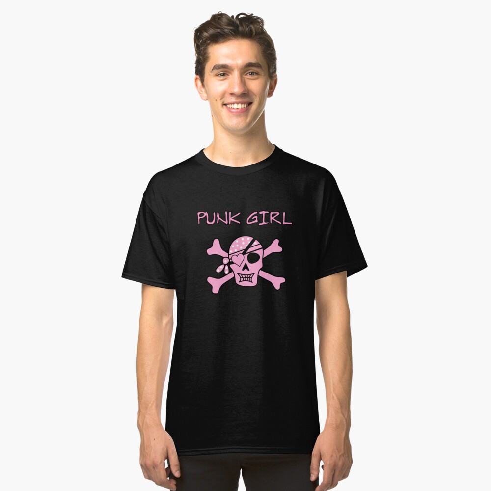 Punk Rock Girl Skull Skull Pirate Classic T-Shirt Front