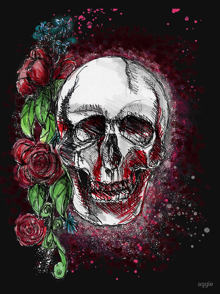 Just keep smiling - skull & roses by aggie