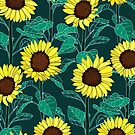 Sunny Sunflowers - Emerald  by TigaTiga