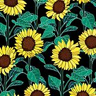 Sunny Sunflowers - Black  by TigaTiga